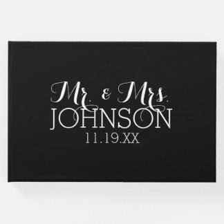 Solid Colour Black Mr & Mrs Wedding Favours Guest Book