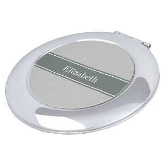 Solid Grey, Charcoal Grey Ribbon Name Monogram Travel Mirrors