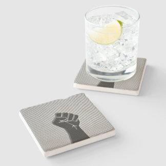 Solidarity Fist Carbon Fiber Decor Style Stone Coaster