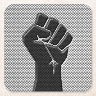 Solidarity Fist in Carbon Fiber Decor Square Paper Coaster