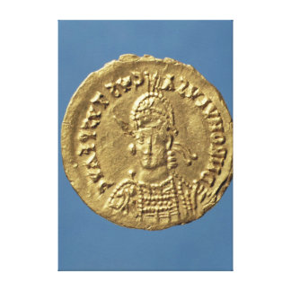 Solidus  of Romulus Augustulus Canvas Print