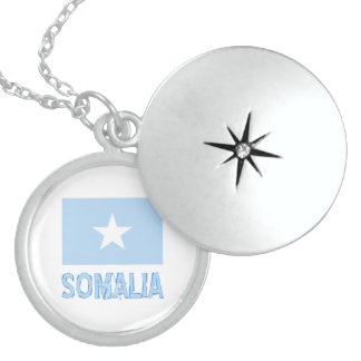 Somalia Flag & Name Borderless Sterling Silver Necklace