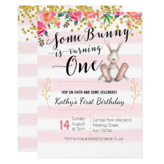 Some Bunny is Turning One Birthday Floral Invite