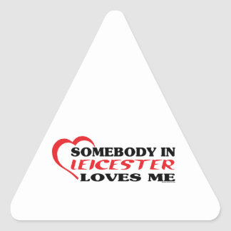 Somebody In Leicester Loves me Triangle Sticker