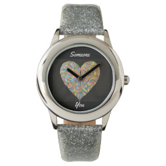 Someone Hearts You Women's SIlver Glitter Watch