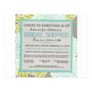 Something Blue Bridal Shower Invitation Postcard