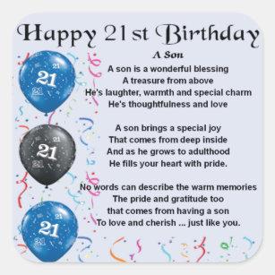 Son Poem 21st Birthday Design Square Sticker Sons Gifts On Zazzle Nz