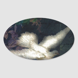 Song Bird Brings Peace Oval Sticker