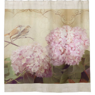 Song Birds on Branch Hydrangea Flowers Vintage Shower Curtain
