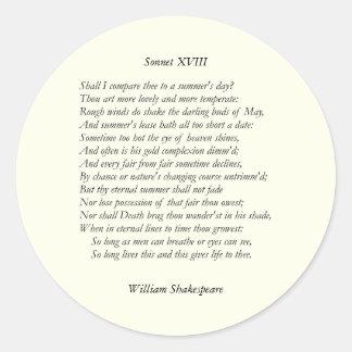 Sonnet # 18 by William Shakespeare Classic Round Sticker