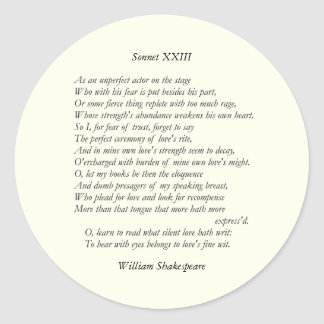 Sonnet # 23 by William Shakespeare Classic Round Sticker