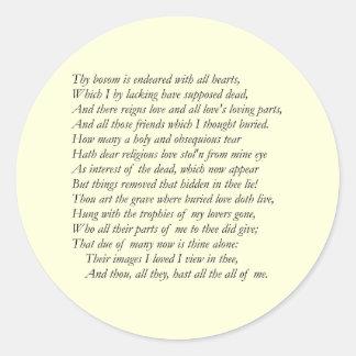 Sonnet # 31 by William Shakespeare Classic Round Sticker