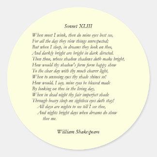 Sonnet # 43 by William Shakespeare Classic Round Sticker