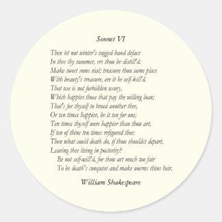 Sonnet # 6 by William Shakespeare Classic Round Sticker