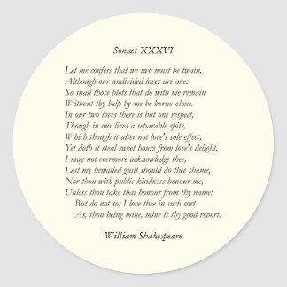 Sonnet Number 36 by William Shakespeare Classic Round Sticker