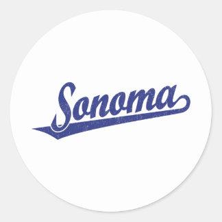 Sonoma script logo in blue distressed classic round sticker
