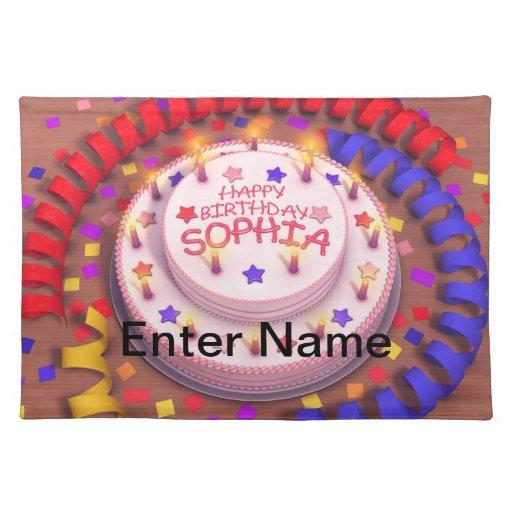 Sophia's Birthday Cake Placemats