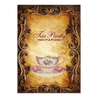 Sophisticated Elegant western vintage tea party Card