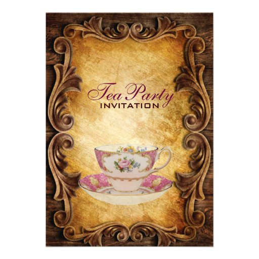 Sophisticated Elegant western vintage tea party Custom Announcement