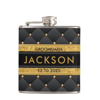 Sophisticated Gold and Black Groomsman / Best Man Flasks