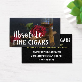 Sophisticated Rose, Drink and Cigar Business Card