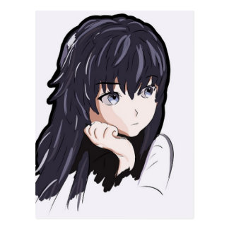 Sorrow Anime Girl Narisovanna Brunette Postcard