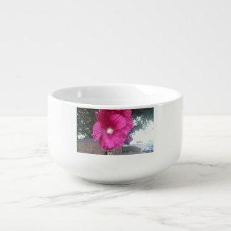 Soup mug with a flower.