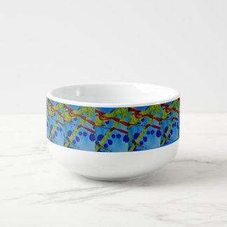 Soup mug with abstract art design