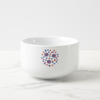 Soup mug with red-blue balls