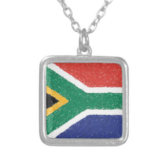 South Africa Flag Theme Silver Plated Necklace