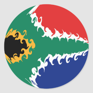 South Africa Gnarly Flag Round Stickers