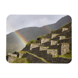 South America, Peru, Machu Picchu. Rainbows over Magnet