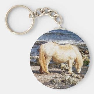 South Devon Beach Shetland Pony Eating Seaweed .2. Basic Round Button Key Ring