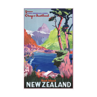 South Island New Zealand Vintage Poster Restored Canvas Print