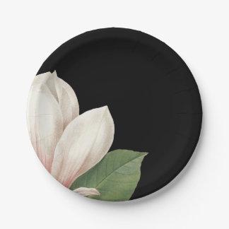 Southern Magnolia Flower | Elegant Black Paper Plate