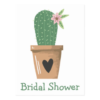 Southwest Bridal Shower Green Cactus Succulent Postcard