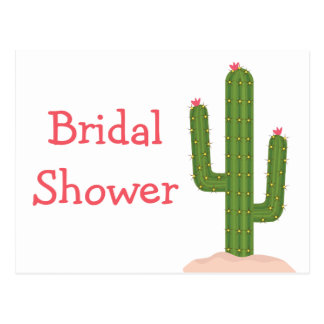 Southwest Bridal Shower Pink Green Cactus Postcard
