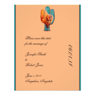 Southwest Cactus and Buffalo Save the Date card Announcement