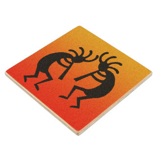 Southwest Dancing Kokopelli Tribal Desert Sunset Wood Coaster