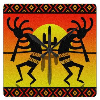 Southwest Kokopelli Cactus Tribal Design Square Wall Clock