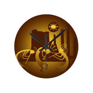 Southwest Kokopelli in Bronze and Gold Round Clock