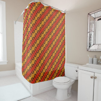 Southwest Kokopelli Pattern Orange And Black Shower Curtain