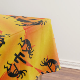 Southwest Kokopelli Pattern Yellow And Black Tablecloth
