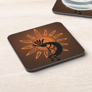 Southwest Kokopelli Sun Rustic Plastic Coasters