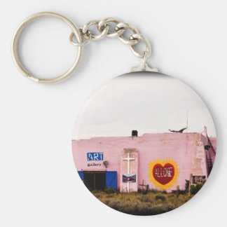 Southwest Pink Art Stucco Building Key Ring