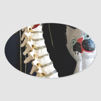 Southwest Spine Skeleton Chili Pepper Cat Oval Stickers