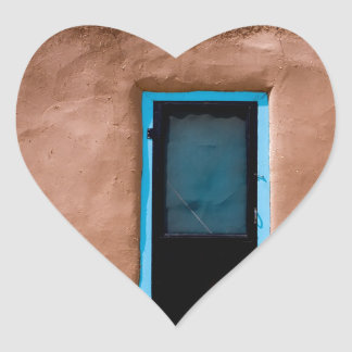 Southwest Taos Adobe Pueblo House Turquoise Door Heart Sticker