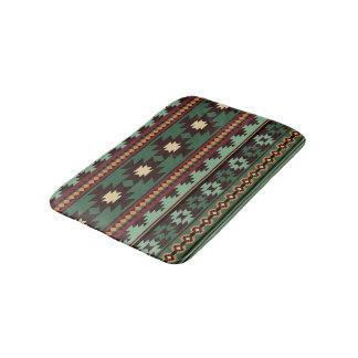 Southwest tribal green brown bath mats