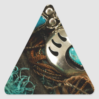 Southwest Turquoise Ring Bolo Tie Blue Green Triangle Sticker