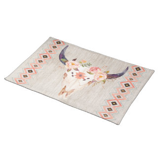 Southwestern Steer Skull with Tribal Pattern Placemat